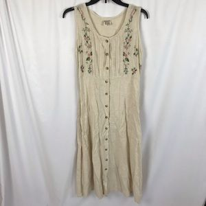 Vintage linen button down shirt dress midi